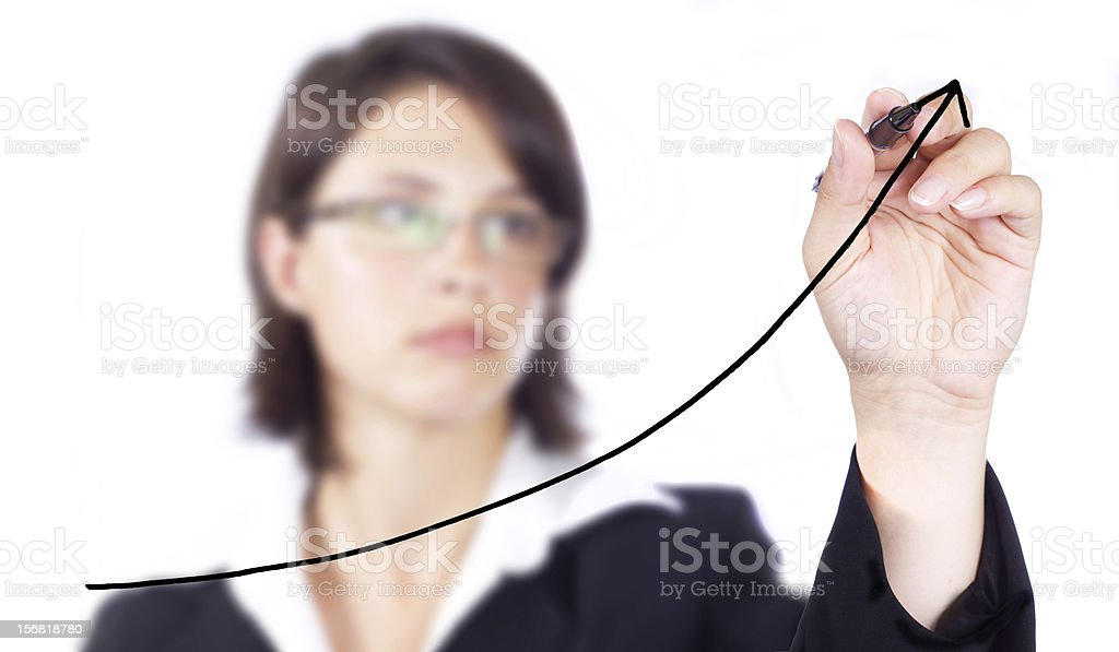 Business woman drawing chart royalty-free stock photo