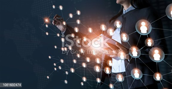 istock Business woman drawing global structure networking and data exchanges customer connection on dark background 1051632474