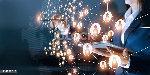 istock Business woman drawing global structure networking and data exchanges customer connection on dark background 914788012