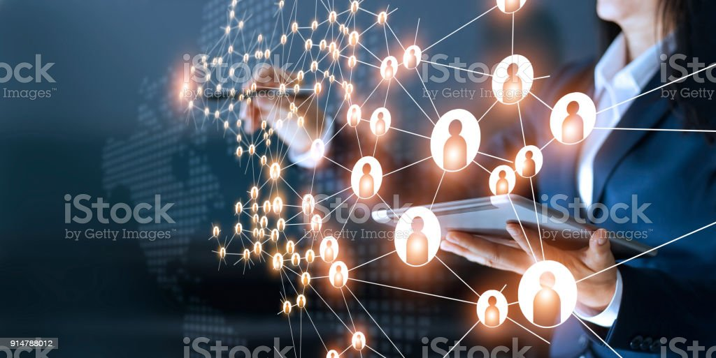 Business woman drawing global structure networking and data exchanges customer connection on dark background stock photo
