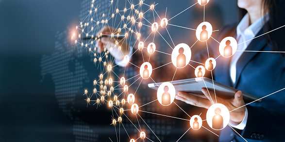Business Woman Drawing Global Structure Networking And Data Exchanges Customer Connection On Dark Background Stock Photo - Download Image Now