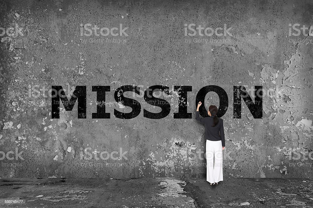 business woman drawing mission concept stock photo