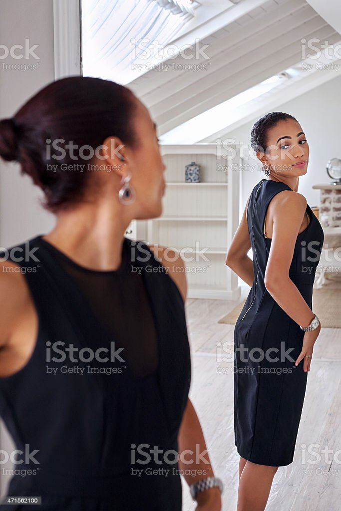 business woman dressing mirror stock photo