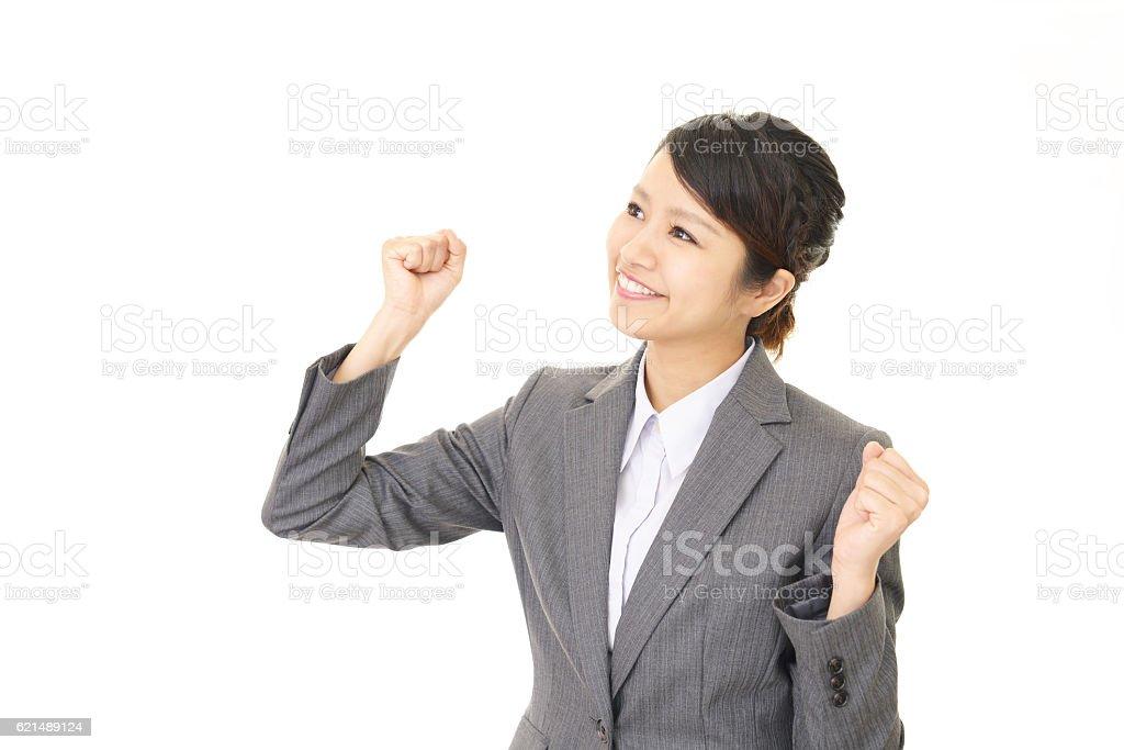 Business-Frau, die voller Erfolg wird. Lizenzfreies stock-foto
