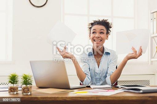 istock Business woman enjoying successful project 939128570