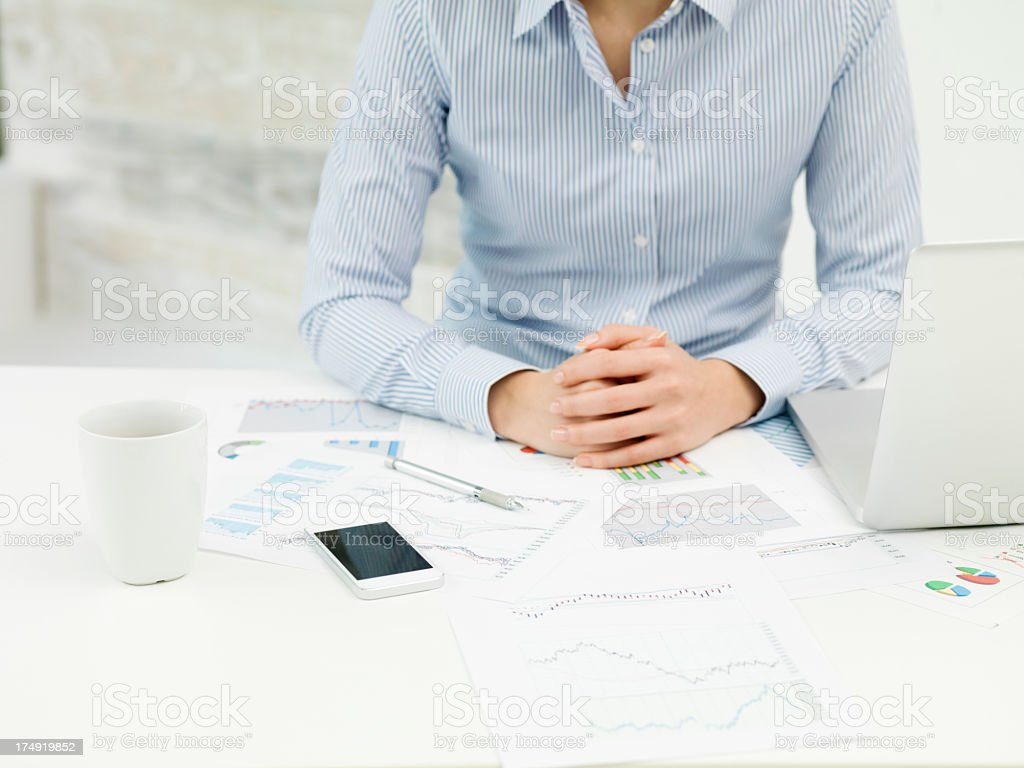 Business woman explaining meeting materials royalty-free stock photo