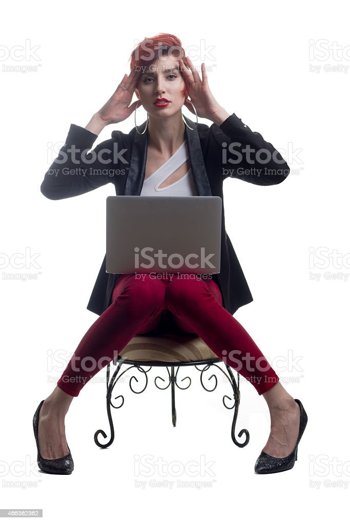 Business woman frustrated with technology and modern laptop stock photo