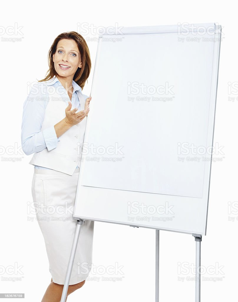 Business woman giving a presentation , room for your text royalty-free stock photo