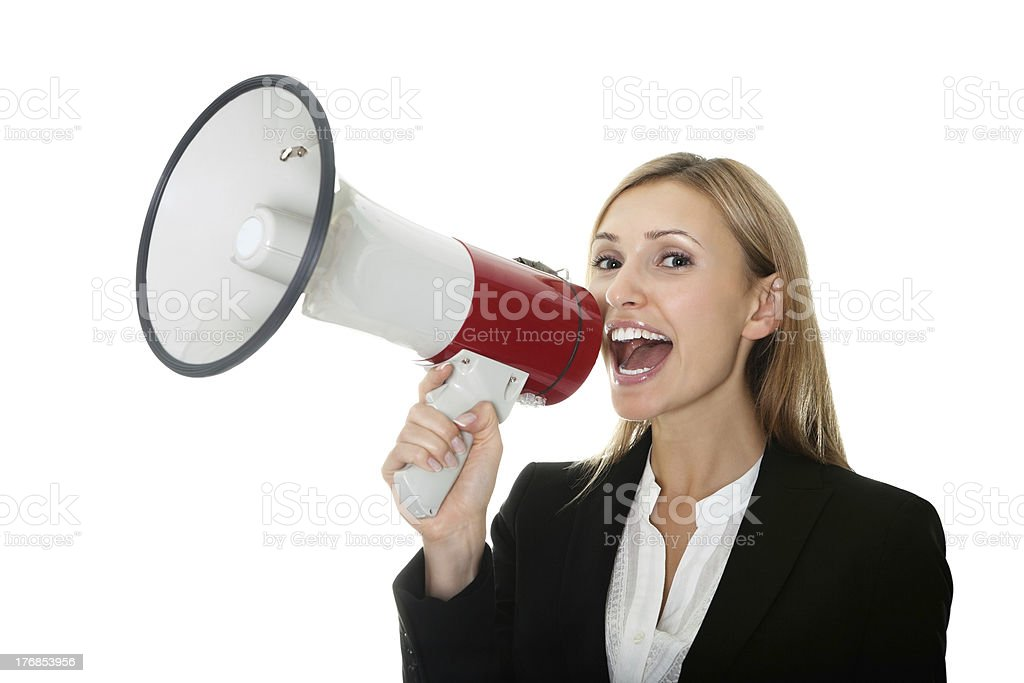 Business woman giving instructions with  megaphone royalty-free stock photo