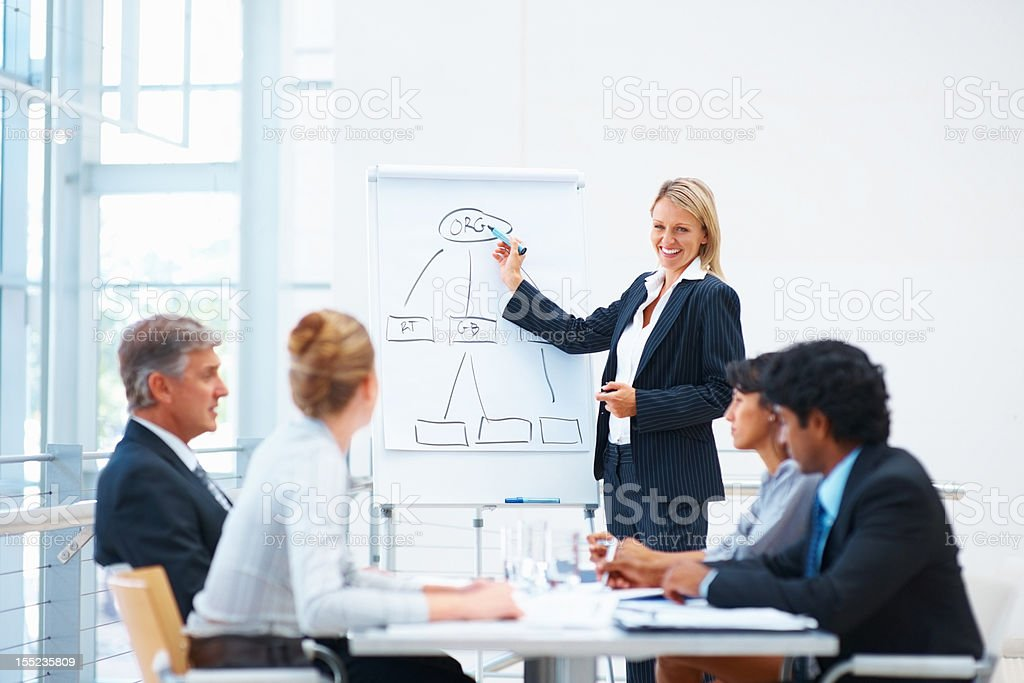 Business woman giving presentation to colleagues Happy mature business woman giving presentation to her colleagues 40-44 Years Stock Photo