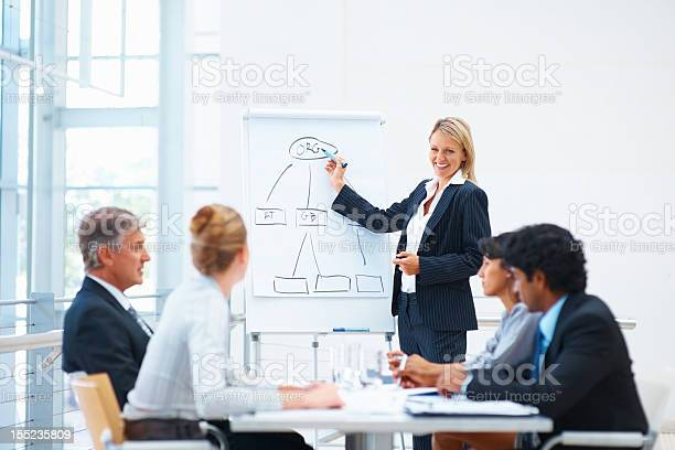 Business Woman Giving Presentation To Colleagues Stock Photo - Download Image Now