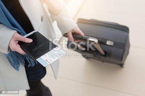 istock Business woman going with luggage or bag on her business trip 811853090