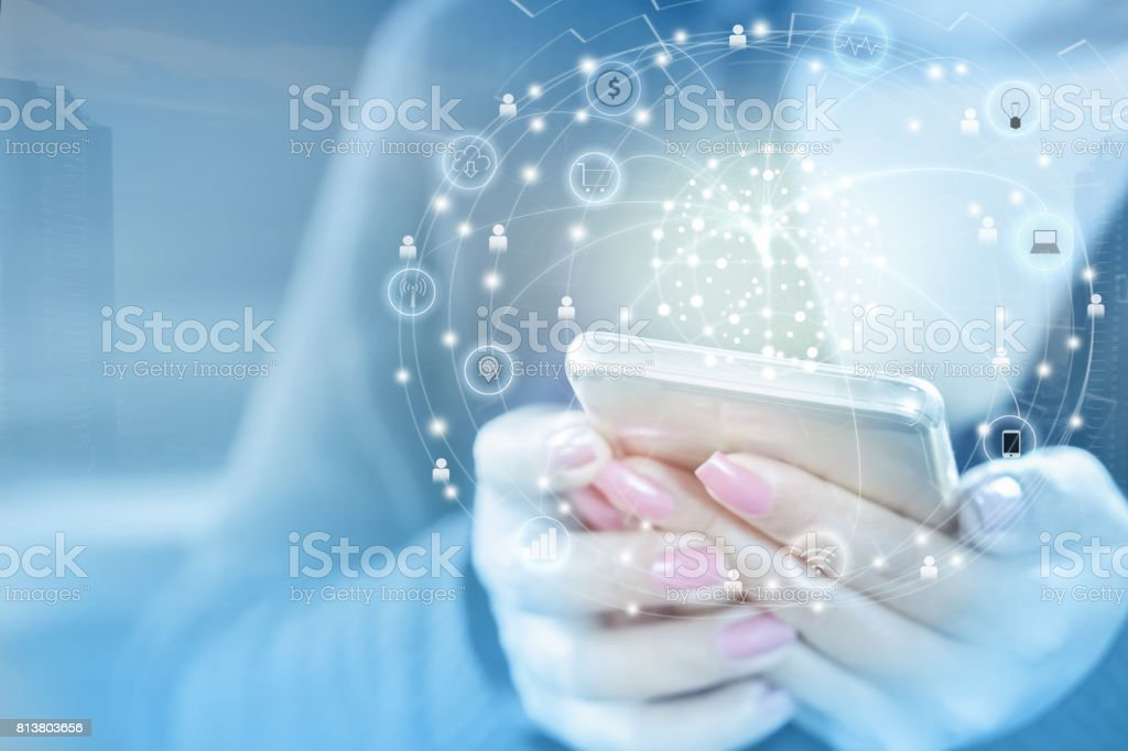 business woman hand connecting with smart phone using internet for social media stock photo
