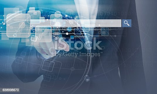 istock Business woman hand touching blank search bar and technology design 638998670