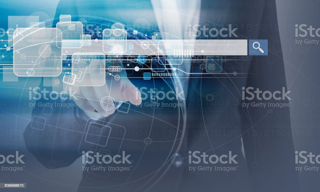 Business woman hand touching blank search bar and technology design stock photo