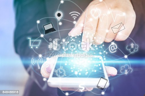 istock business woman hand touching on smart phone screen with technology icon iot 848488918