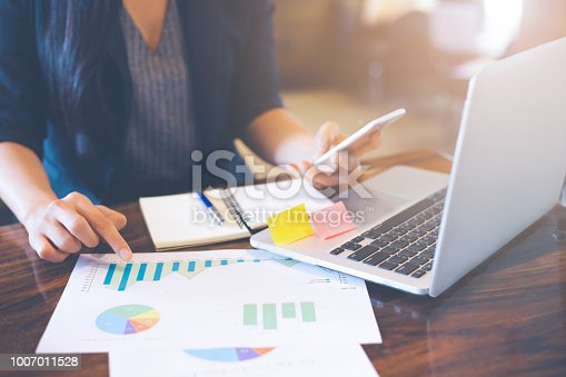 996183898 istock photo Business woman hand uses a phone to work on charts and graphs that show results. 1007011528