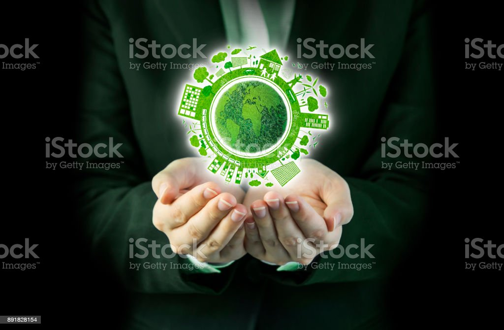 Business woman hands holding world ecology design stock photo