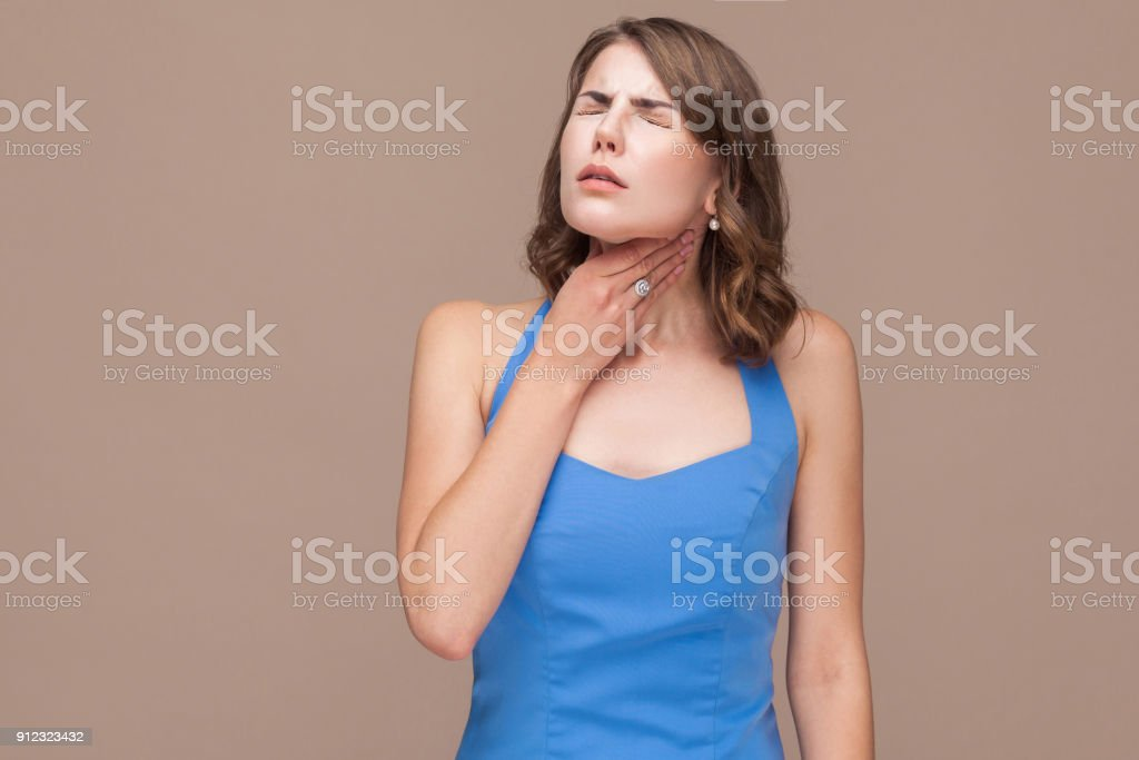 Business woman have pain in neck. stock photo