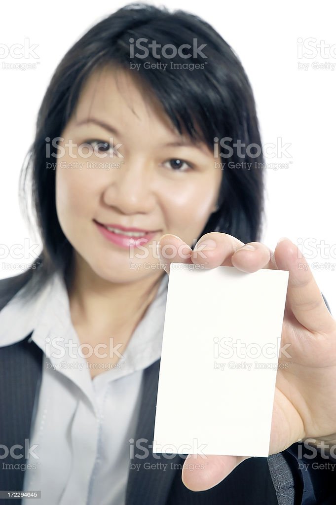 Business Woman Holding A Blank Busines Card royalty-free stock photo