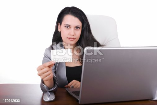 istock Business woman holding a blank card 172942930