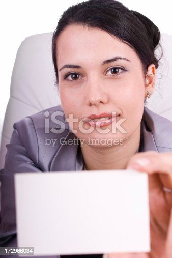 istock Business woman holding a blank card 172966034