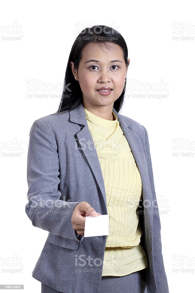 Business woman holding a  blank name card royalty-free stock photo