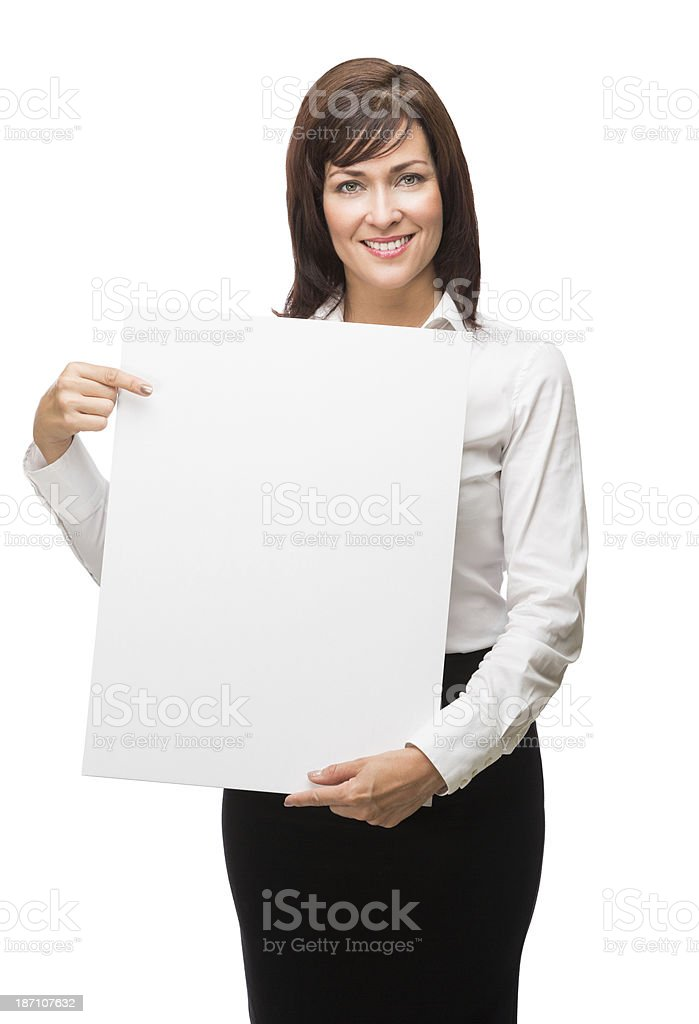 Business woman holding a blank sign royalty-free stock photo