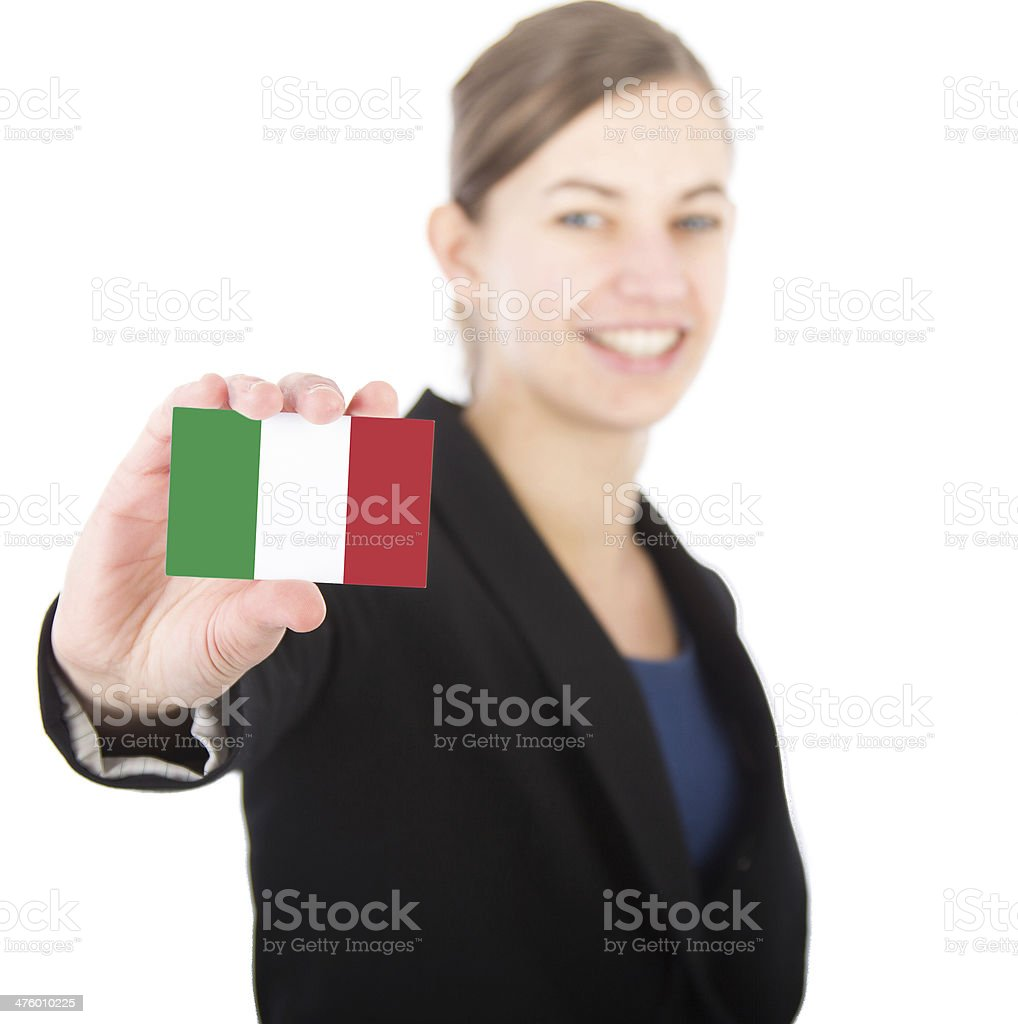 business woman holding a card with the Italian flag stock photo