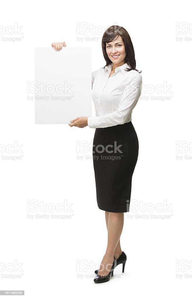 Business woman holding an empty sign royalty-free stock photo