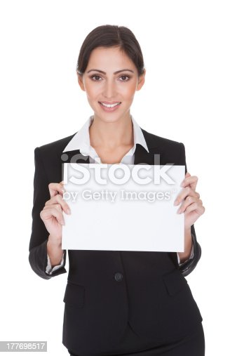 istock Business Woman Holding Blank Placard 177698517