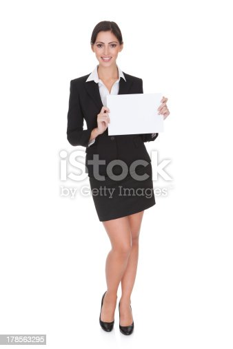 istock Business Woman Holding Blank Placard 178563295