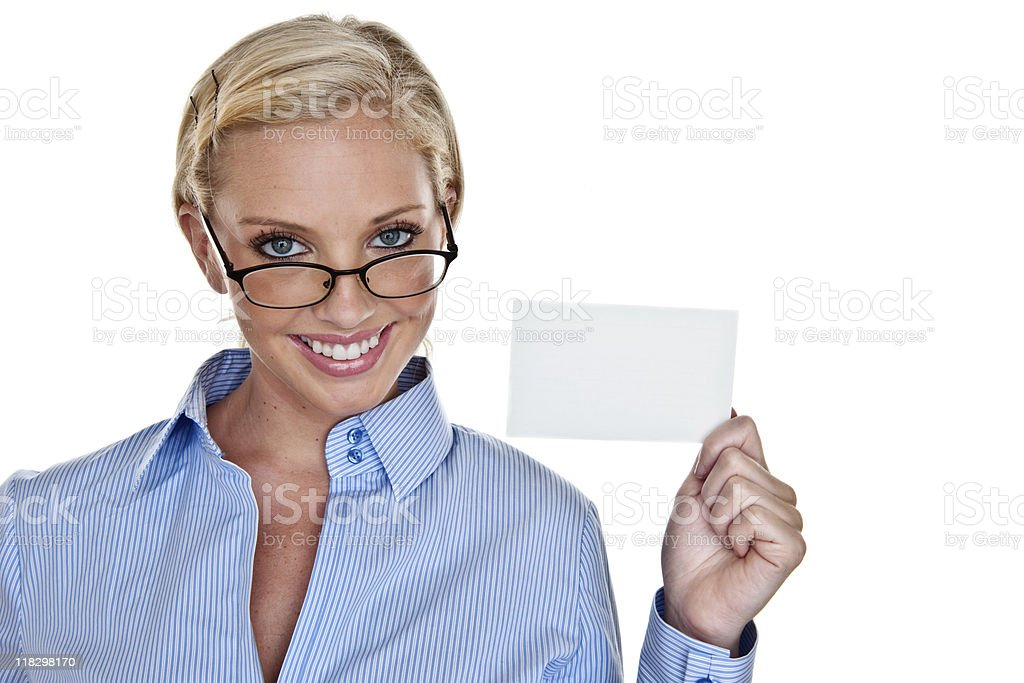 Business woman holding card for copy space royalty-free stock photo
