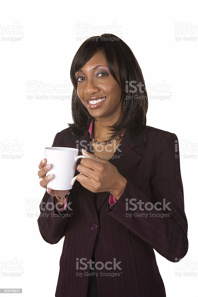 Business woman holding coffee cup royalty-free stock photo