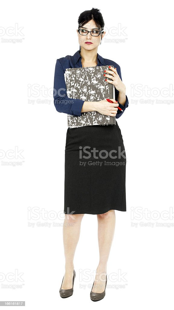Business Woman Holding On to File royalty-free stock photo