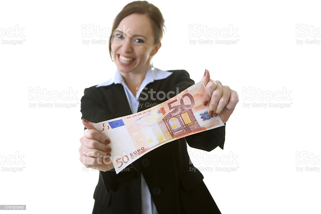 Business woman holding out Euro currency royalty-free stock photo