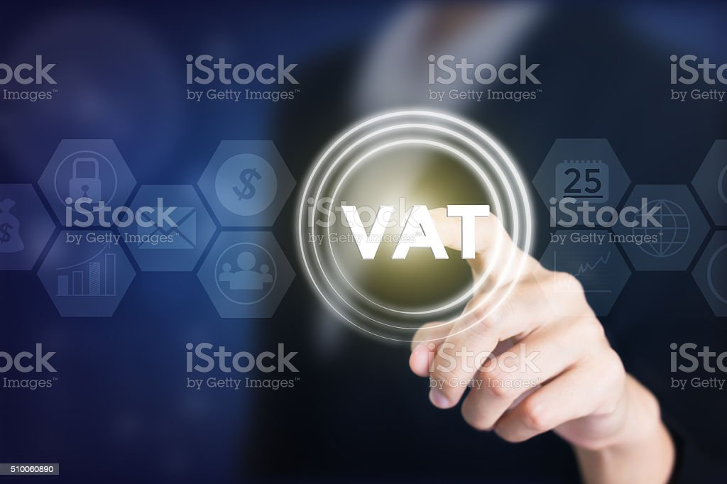 Business woman holding posts in VAT. stock photo