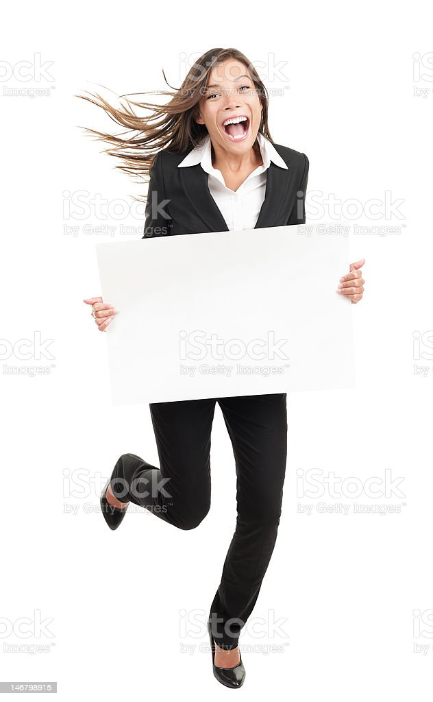 Business woman holding white sign - funny running royalty-free stock photo