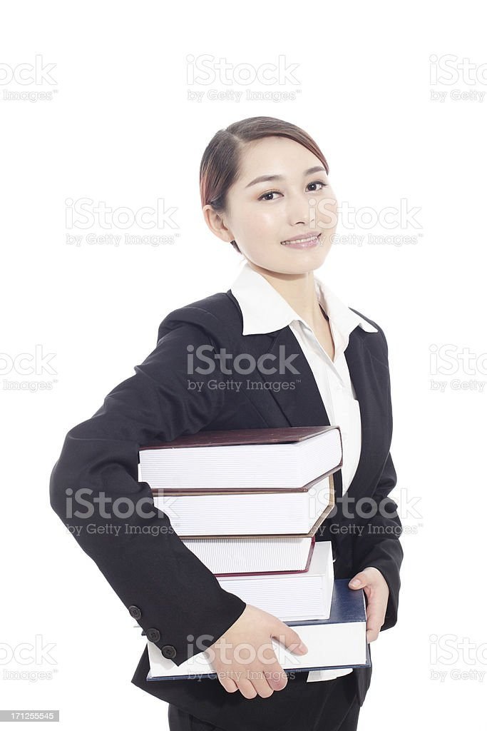 business woman holding with books stock photo