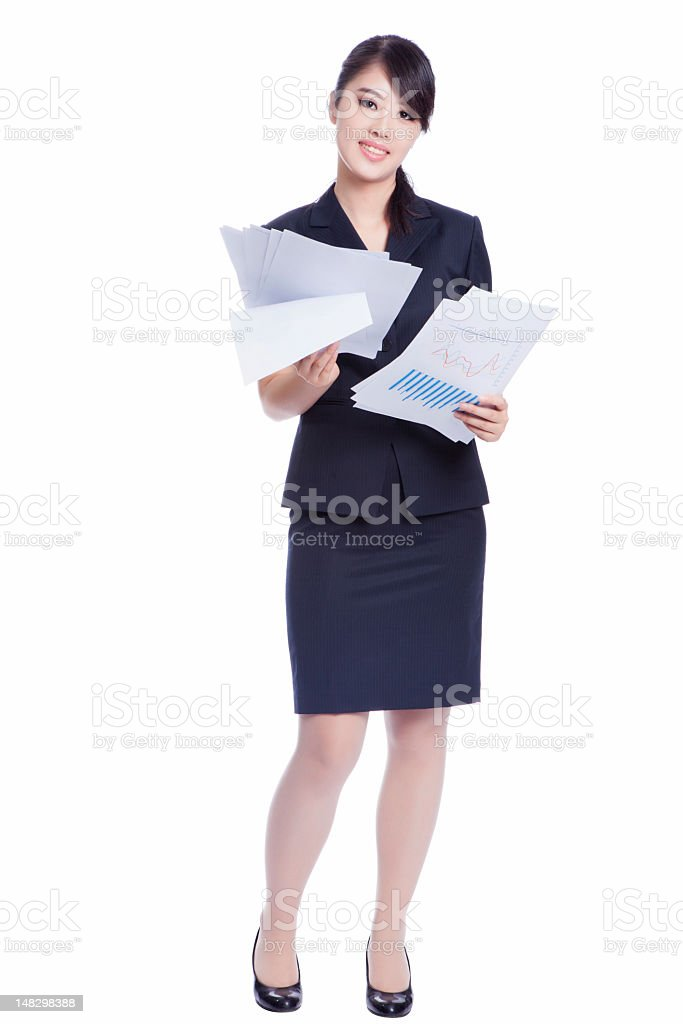 business woman holding with report stock photo