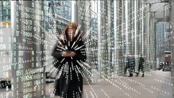 Business woman in a digital matrix environment. stock photo
