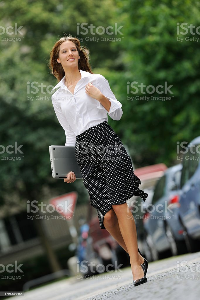 Business Woman in a Hurry - Outdoor (XXXL) royalty-free stock photo