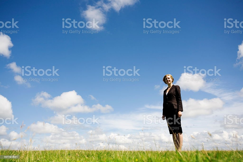 Business woman in a meadow royalty-free stock photo