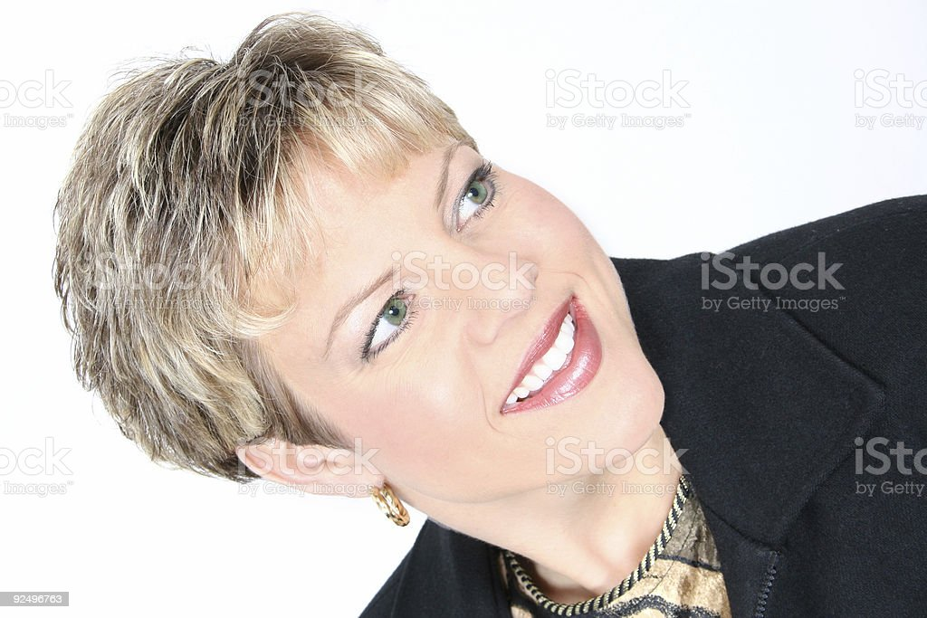 Business Woman in Black Over White royalty-free stock photo