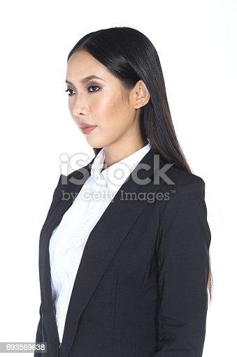 Business woman in black suit and trouser long hair, studio lighting white background isolated, portrait half body
