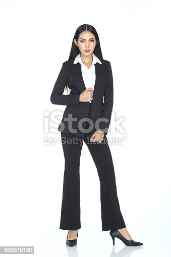 Full Length body stand of Business woman in black suit and trouser long hair, studio lighting white background isolated