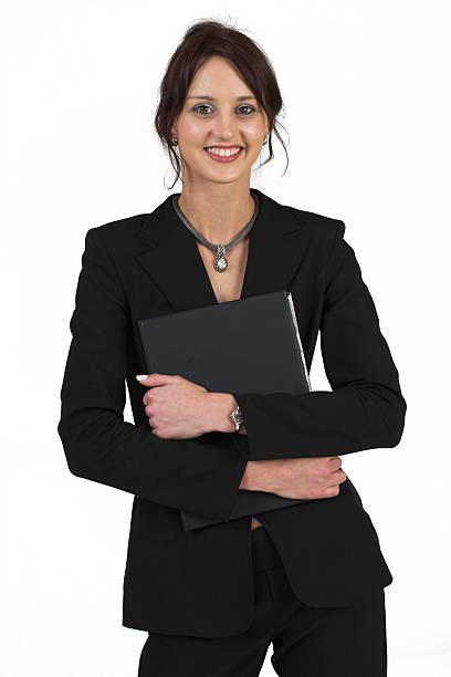 Business Woman in black suit holding File stock photo