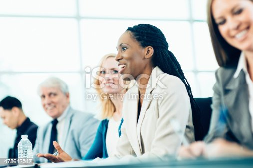 1087253494 istock photo Business Woman in Conference 478642547