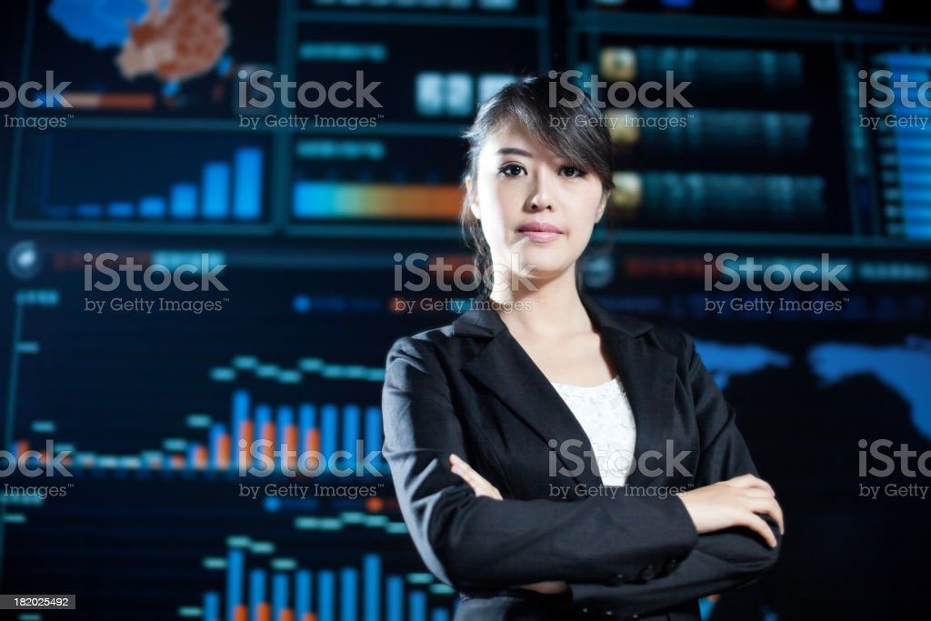 business woman in data center royalty-free stock photo