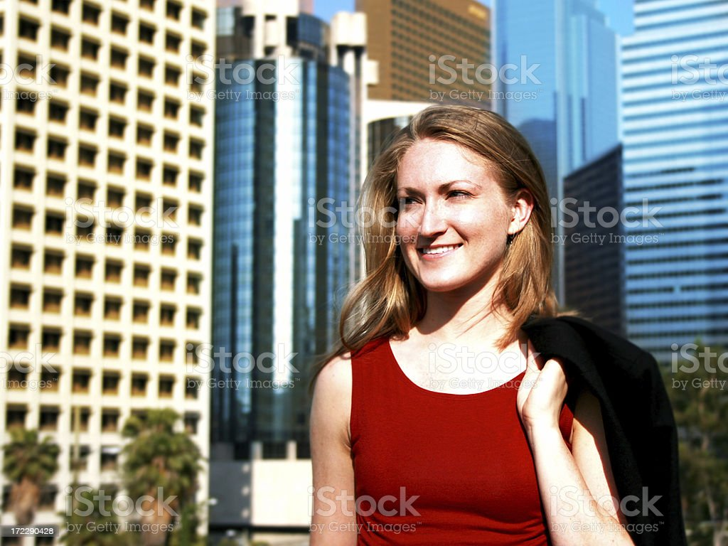 Business Woman in Downtown Los Angeles stock photo